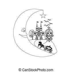 medieval, -, mão, carruagem, desenho, castelo, lua