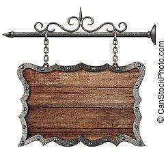 medieval, madeira, isolado, placa sinal, penduradas, branca, correntes
