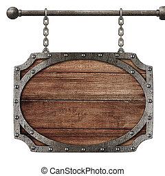 medieval, madeira, isolado, sinal, penduradas, branca, correntes