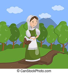 Medieval maid on summer landscape background vector Illustration