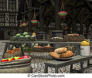 Medieval Marketplace - Farmers market with fresh seasonal...