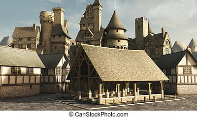 Medieval or fantasy town market place, 3d digitally rendered illustration