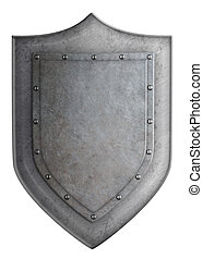 Medieval metal shield isolated on white 3d illustration