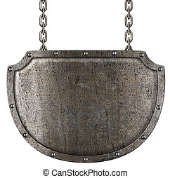 medieval, metal, signboard, ahorcadura, cadenas, aislado, blanco