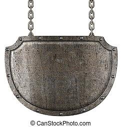 medieval,  metal,  signboard, aislado, ahorcadura, blanco, cadenas