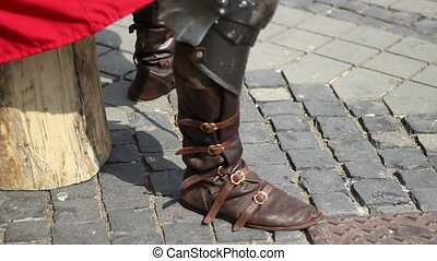 Medieval Military Boots - Leather footwear tighten with...