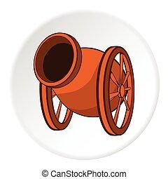 Medieval military throwing gun icon, cartoon style