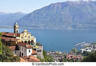 medieval, monasterio, dominar, lago maggiore, sasso, del, ...