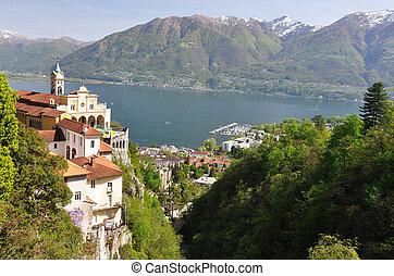 medieval, monasterio, dominar, lago maggiore, sasso, del,...