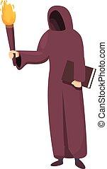 Medieval monk icon cartoon vector. Catholic priest. Manuscipt monk scribe