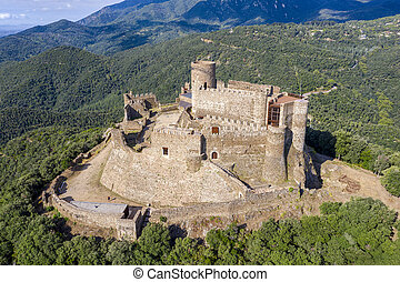 Medieval Montsoriu Castle. in the Montseny Natural Park ...