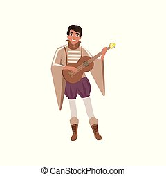 Medieval musician character playing guitar vector Illustration on a white background