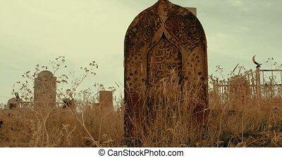 Medieval Muslim Tombstone toned footage