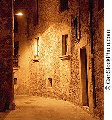 Medieval Narrow Dark Alley At Night