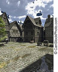 medieval, o, fantasía, cuadrado pueblo