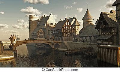 medieval, o, fantasía, diques