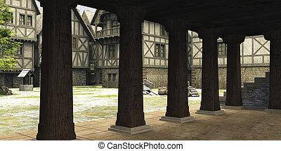 medieval, o, fantasía, markethall, vista