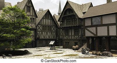 medieval, o, fantasía, pueblo, centro, estropear