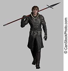 medieval, o, fantasía, spearman