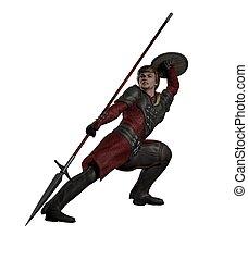 medieval, o, fantasía, spearman, fighti