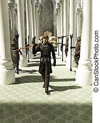 medieval, o, fantasía, spearman, walkin