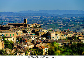 Medieval old italian city on the top of the hill, Tuscany