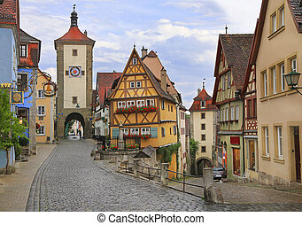 Medieval old street in Rothenburg ob der Tauber