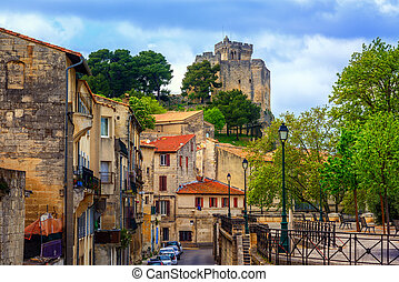 Medieval old town and castle of Beaucaire, France