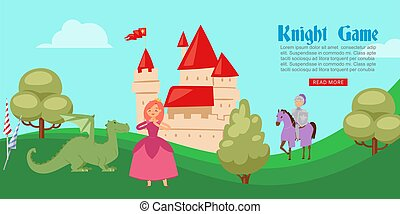 Medieval or fairy tale cartoon knight game banner with castle and knight in full body armor suits on horse, dragon and princess vector illustration.