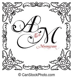 Medieval oriental ornamental monograms, framework...