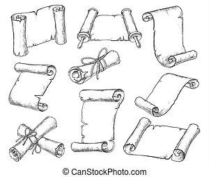 Medieval paper scrolls, manuscript sketch icons