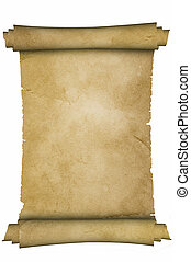 Medieval parchment. - Scroll of medieval parchment on white...