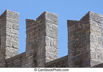 medieval, parede, fortress., detalhe, marino, san