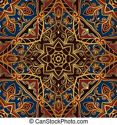 Medieval pattern on a brown background.