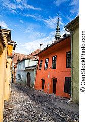 medieval, pavimentado, calle, en, sighisoara, transylvania.