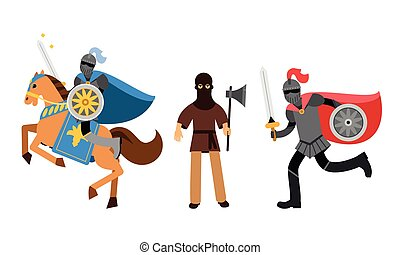Medieval People Characters with Armored Knight on Horse and Executor with Axe Vector Illustration Set