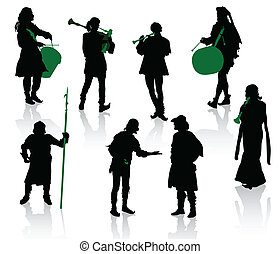 Medieval people - Silhouettes of people in medieval...