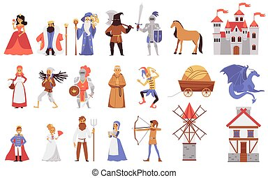 Medieval people - isolated set of cartoon fairytale characters