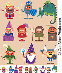 Set of 10 cartoon medieval characters. Below are the same characters customized for white background. No transparency and gradients used.