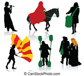 Medieval people - Silhouettes of people in medieval costumes...