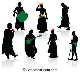 Silhouettes of people in medieval costumes. Queen, shepherd, musicians, monk