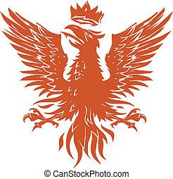 Medieval Phoenix - An orange, heraldry phoenix