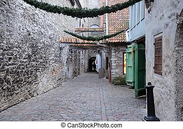medieval, pista, em, cidade velha