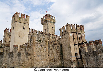 Medieval port fortification of the Scaliger Castle in Sirmione, Italy