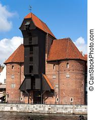 medieval, porto, guindaste, em, gdansk, polônia