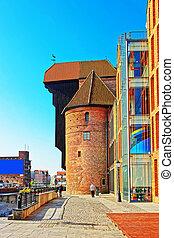 medieval, porto, guindaste, zuraw, em, motlawa, rio, em,...