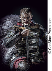 medieval - Portrait of a courageous ancient warrior in armor...