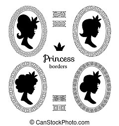 Medieval princess silhouette portraits in vintage victorian frames vector set