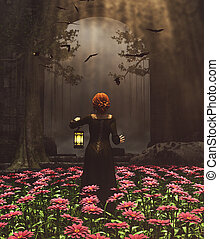 Medieval princess with lantern at night secret garden,3d rendering