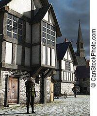 medieval, pueblo, vigilante